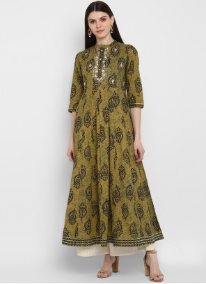 Party Wear Kurti Printed Cotton in Green