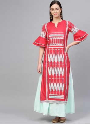 Party Wear Kurti Printed Cotton in Pink