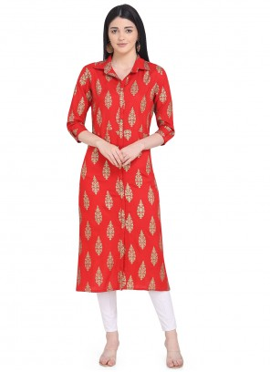 Party Wear Kurti Printed Rayon in Red