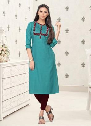Party Wear Kurti Thread Work Cotton in Blue