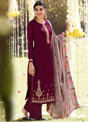 Pashmina Designer Palazzo Salwar Suit in Wine