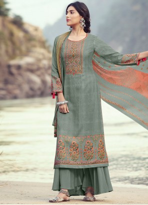 Pashmina Embroidered Grey Designer Palazzo Suit