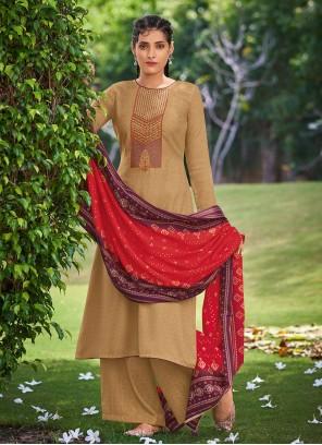Pashmina Embroidered Mustard Salwar Kameez