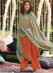 Pashmina Embroidered Orange Trendy Palazzo Salwar Suit