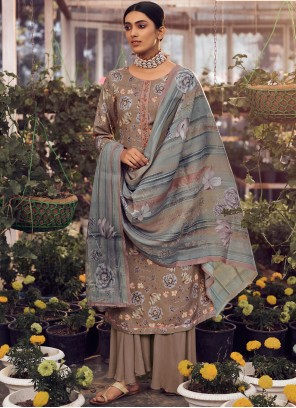 Pashmina Floral Print Palazzo Suit in Brown