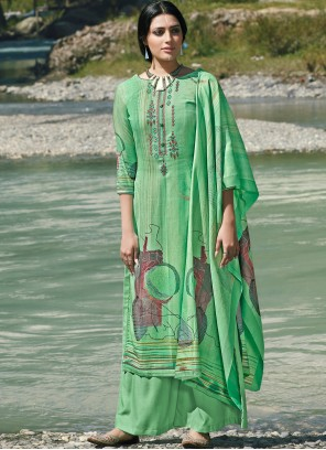Pashmina Green Embroidered Trendy Palazzo Salwar Suit
