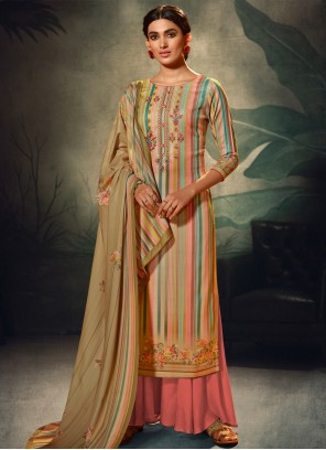 Pashmina Multi Colour Embroidered Salwar Kameez