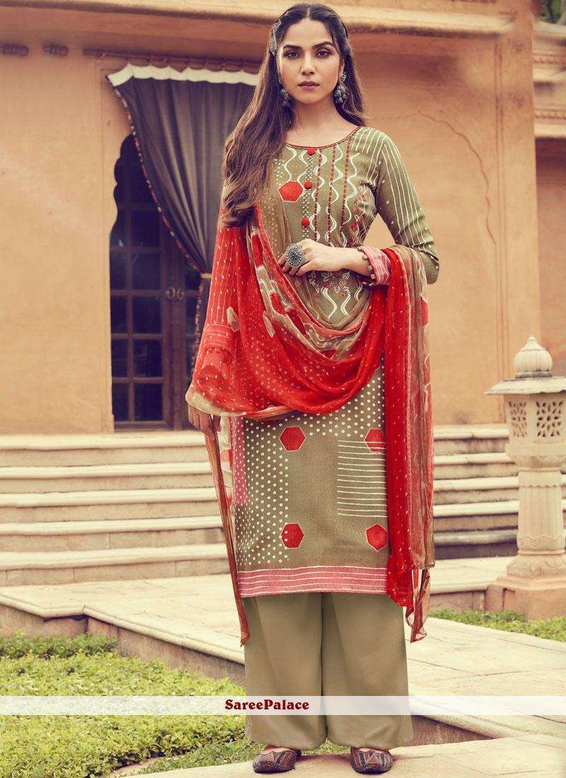 Pashmina Print Multi Colour Designer Palazzo Suit