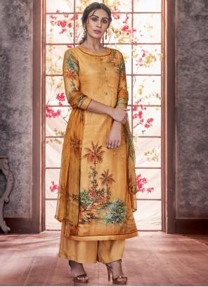 Pashmina Printed Designer Palazzo Salwar Suit in Yellow