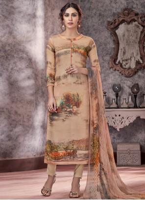 Pashmina Printed Designer Beige Salwar Kameez