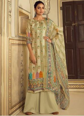 Pashmina Stripe Print Green Salwar Suit