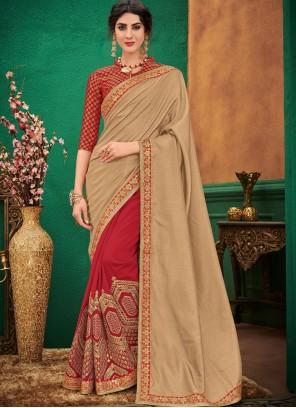Patch Border Art Silk Beige and Red Designer Half N Half Saree