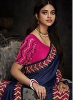 Patch Border Art Silk Blue Traditional Designer Saree