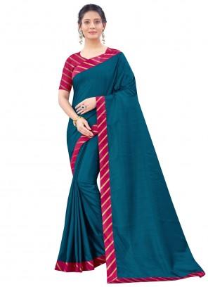 Patch Border Art Silk Blue Traditional Saree