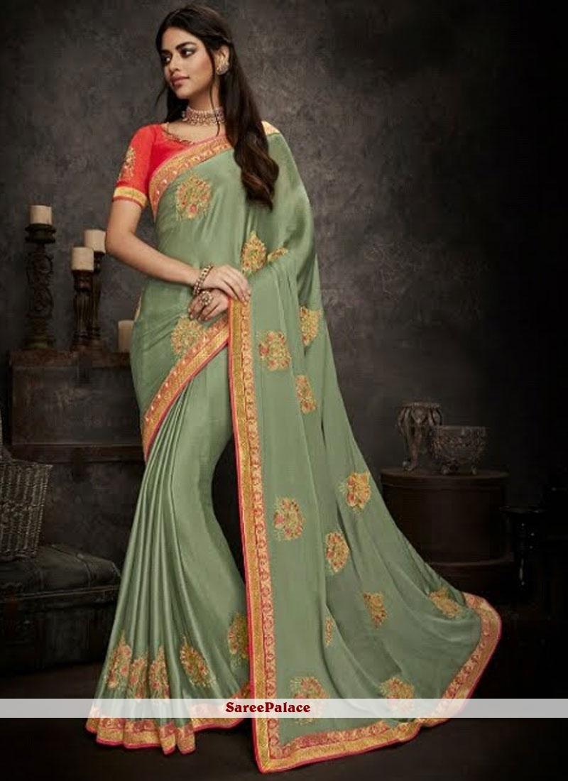 Sea Green Patch Border Art Silk Designer Traditional Saree