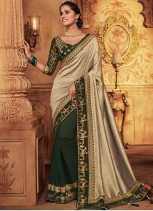 Patch Border Art Silk Green Classic Designer Saree
