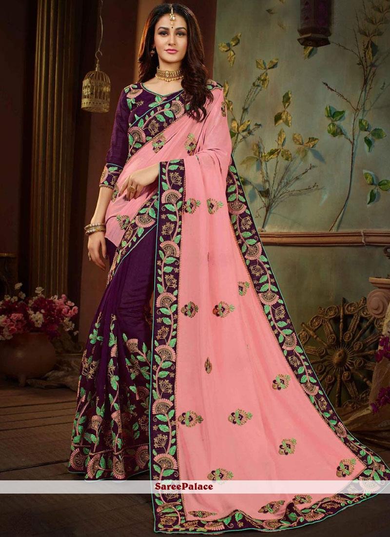 Patch Border Art Silk Half N Half Designer Saree in Pink and Purple