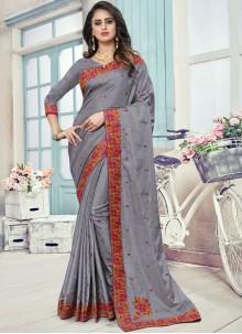 Patch Border Art Silk Traditional Designer Saree