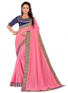 Patch Border Art Silk Traditional Pink Designer Saree