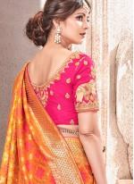 Patch Border Art Silk Traditional Designer Saree in Orange