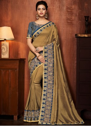 Gold Patch Border Art Silk Traditional Saree