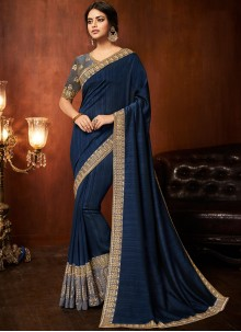 Blue Patch Border Art Silk Traditional Saree