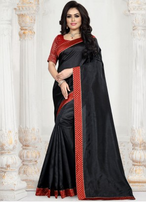 Patch Border Art Silk Traditional Saree in Black