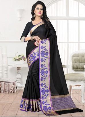 Patch Border Banarasi Silk Silk Saree in Black