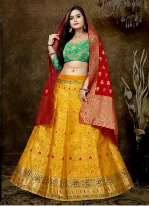 Patch Border Banarasi Silk Yellow Lehenga Choli