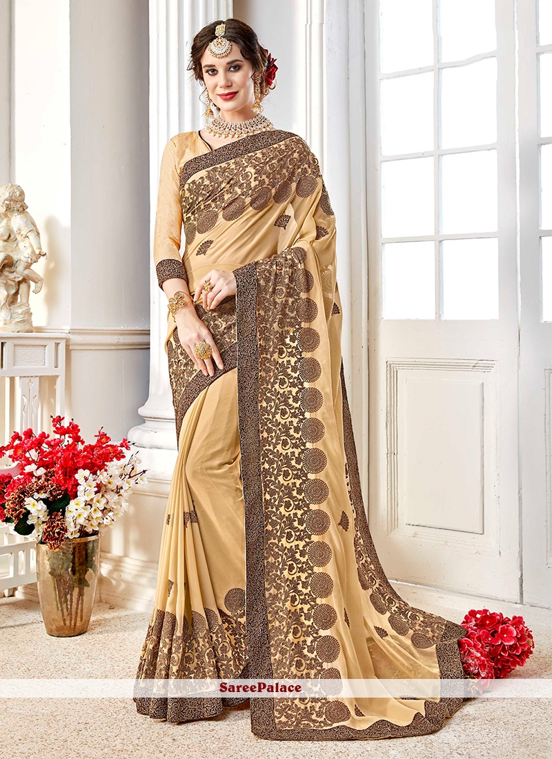 7756598eba Buy Patch Border Beige Faux Georgette Saree Online