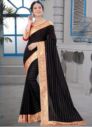 Patch Border Black Silk Designer Saree