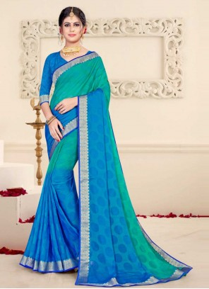 Patch Border Blue and Green Brasso Shaded Saree