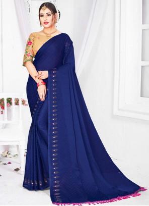 Patch Border Blue Classic Saree
