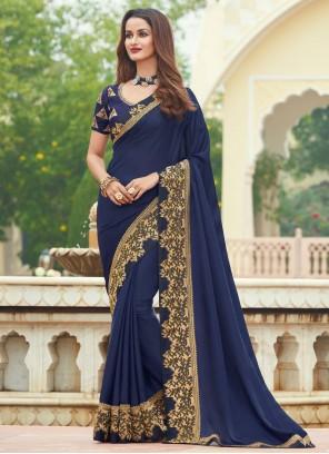 Patch Border Blue Designer Saree
