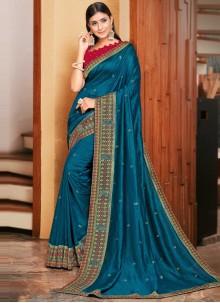 Patch Border Blue Designer Traditional Saree