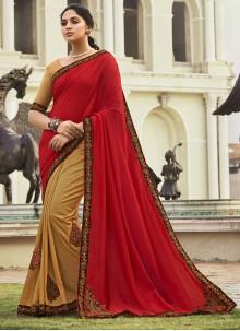 Patch Border Chanderi Beige and Red Half N Half  Saree