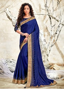 Patch Border Chanderi Blue Classic Designer Saree