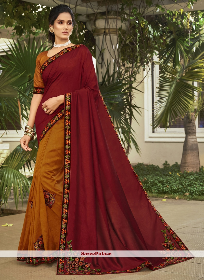 Patch Border Chanderi Orange and Red Designer Saree