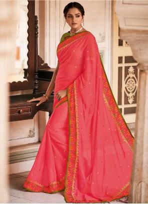 Hot Pink Patch Border Faux Chiffon Designer Saree