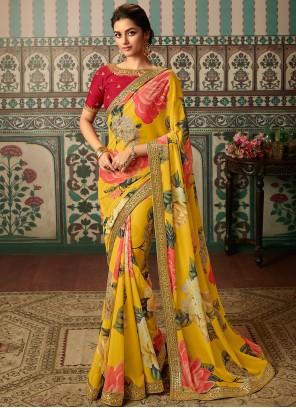 Yellow Patch Border Classic Saree