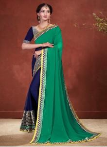 Patch Border Green Designer Half N Half Saree