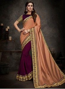 Peach and Purple Designer Half N Half Saree