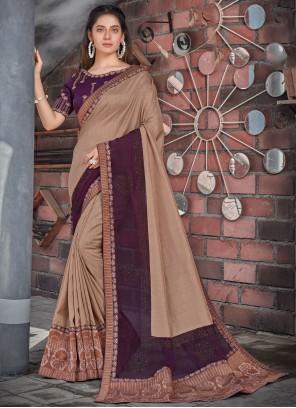 Purple Patch Border Designer Saree