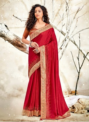 Red Patch Border Designer Traditional Saree