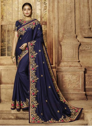 Blue Patch Border Designer Traditional Saree