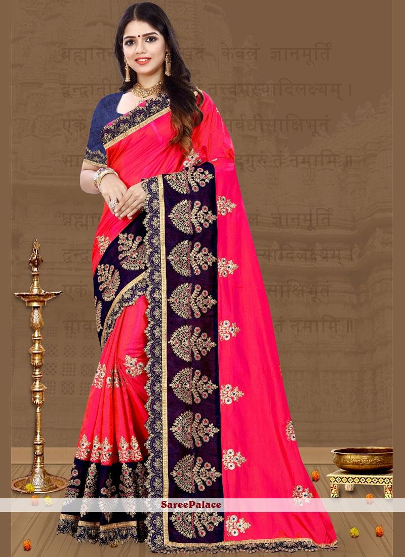 Rani Pink Patch Border Designer Traditional Saree