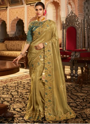 Patch Border Fancy Fabric Brown Traditional Designer Saree