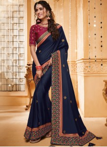 Patch Border Fancy Fabric Classic Saree in Blue