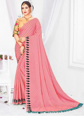Patch Border Fancy Fabric Classic Saree in Pink