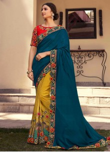 Patch Border Fancy Fabric Designer Half N Half Saree